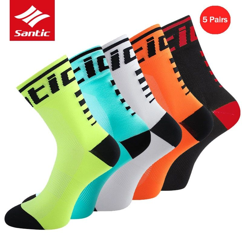 Santic 5 Pairs Cycling Socks Professional Running Football Basketball Sport Socks Breathable Bicycle Bike Socks Meias Ciclismo