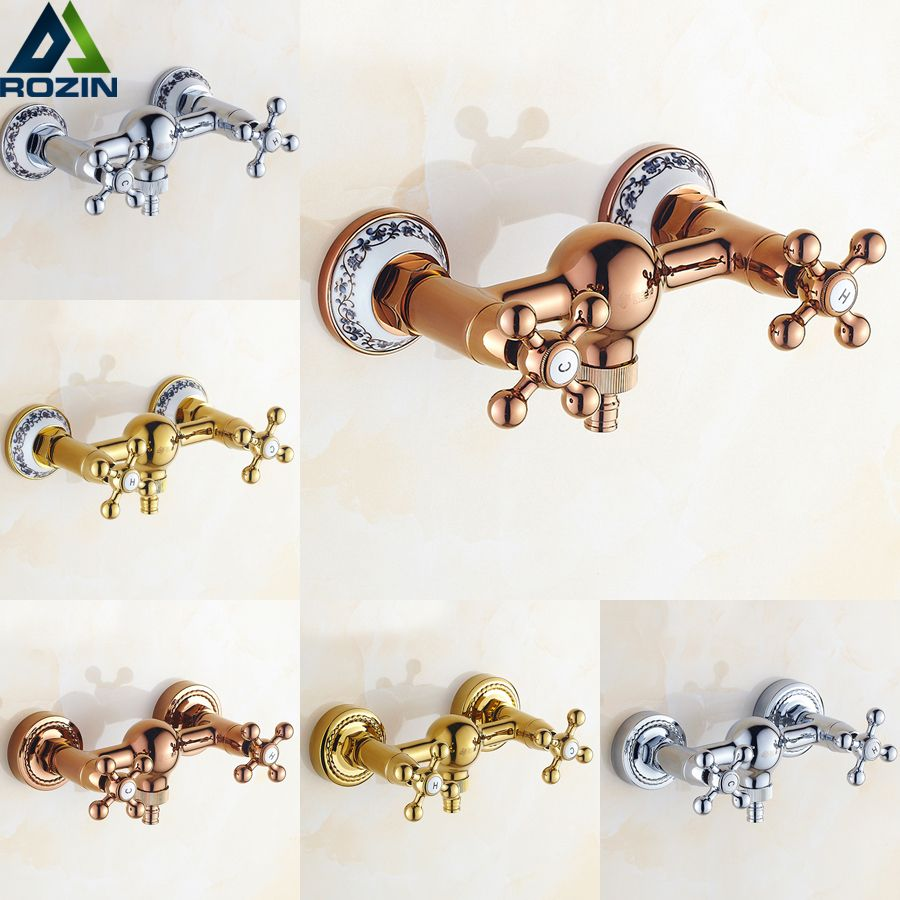 Free Shipping Wall Mounted Bathroom Washing Machine Tap Cold and Hot Water Dual Handle Shower Faucet Mop Pool Faucet