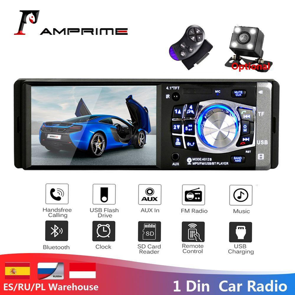 AMPrime 1 Din 4.1 Autoradio stéréo FM Bluetooth USB AUX FM Radio MP3 lecteur Audio prise en charge caméra télécommande 4012B
