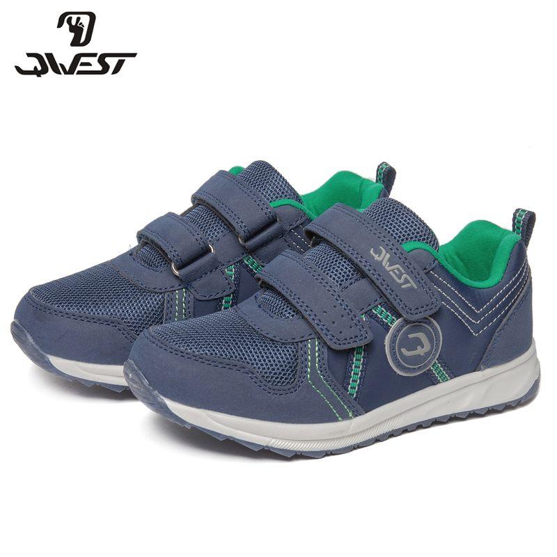 QWEST Marke Leder Einlegesohlen Atmungs Bogen Kinder Sport Schuhe Haken & Loop Größe 28-34 Kinder Sneaker für Jungen 81K-YC-0605
