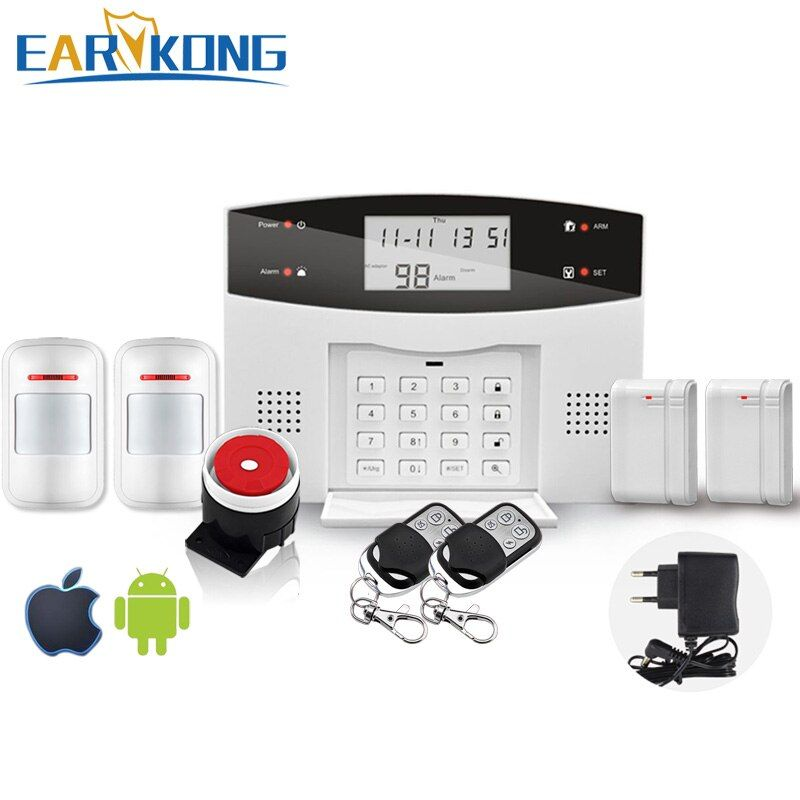 Free Shipping Wireless Home Burglar App PSTN GSM Alarm System Support English / Russian / Spanish / France / Portuguese
