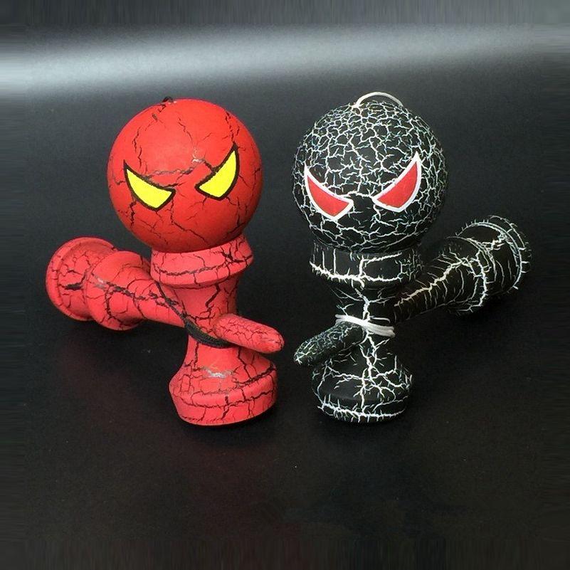 1 pièce en bois pleine fissure Kendama dessin animé professionnel habile Jumbo Spider Kendama en plein air jonglage jeu balle jouets pour cadeau
