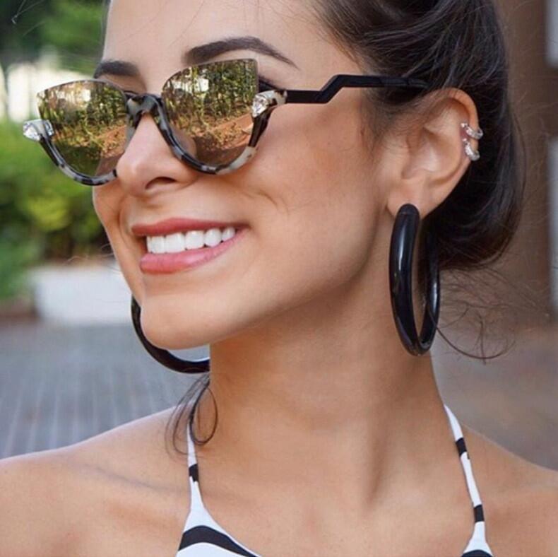BOYEDA 2017 Nouvelles Femmes Marque Designer Vintage Demi-Trame Lunettes de Soleil pour Femmes Sexy Cat Eye lunettes de Soleil Mode Rétro Lunettes