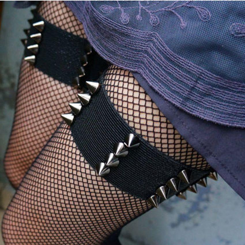 Gothique Kawaii paire jarretelles à pointes élastiques jarretelles BDSM grunge punk fétiche bondage jarretière alternative sexy sorcière à pointes jarretière