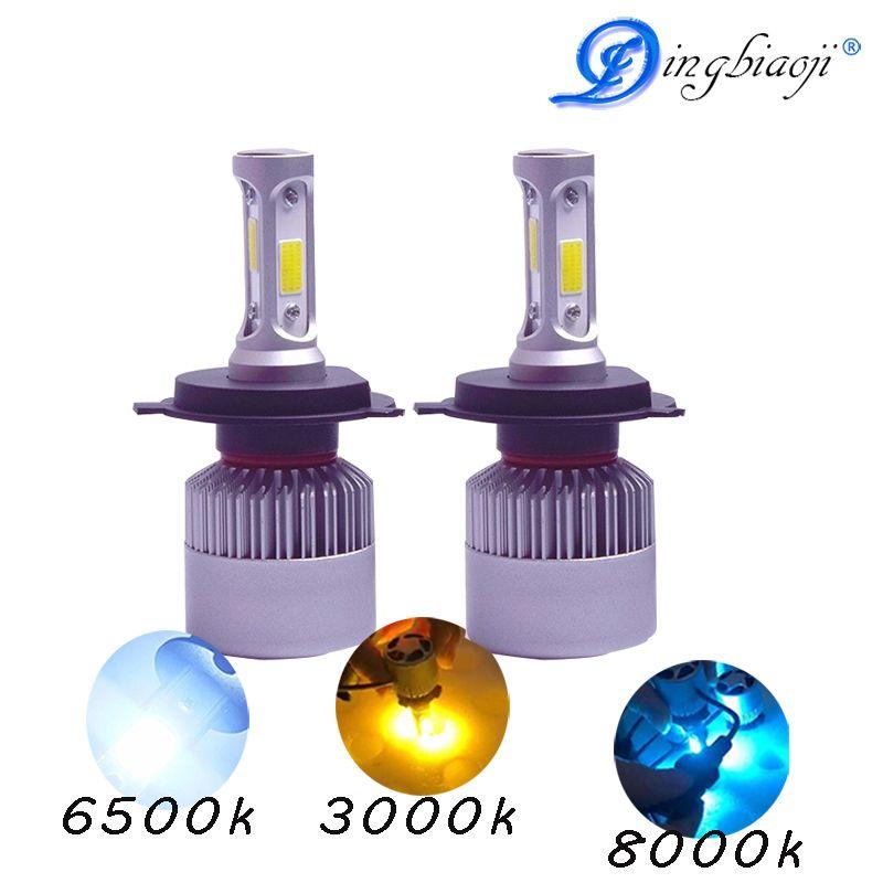 2X 9005 9006 H11 H4 H7 led H1 H3 H8 will the S2 H9 72w <font><b>8000lm</b></font> 6500k 3000K 8000K car light bulb in one cob lumileds lamp