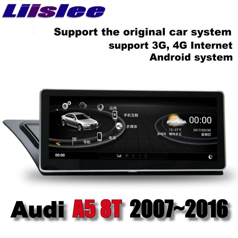 Lislee Auto Multimedia Player NAVI Für Audi A5 8 t 2007 ~ 2016 Original-Auto-System Radio Stereo WIFI KARTE GPS Bildschirm Navigation