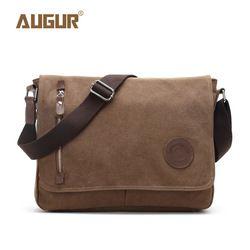 Augur 2017 Canvas Leather Crossbody Bag Men Military Army Vintage Messenger Bags Shoulder Bag Casual Travel school Bags