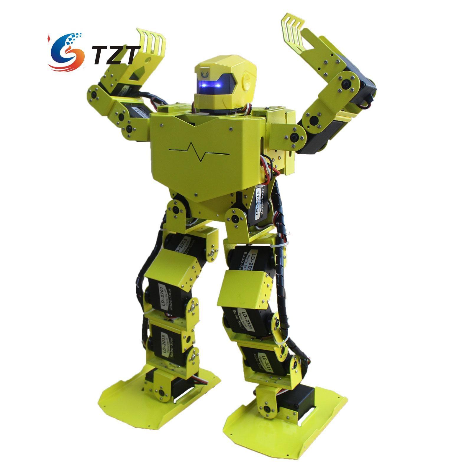 Robo-Soul 16DOF H3.0 Bípedo Robótica Dos Piernas Marco De Aluminio Kit Robot Humano con Servos y Casco Sin Montar