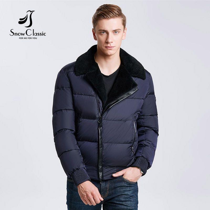 Snowclass2018 winter modelle männer mode revers warme business casual haar kragen jacke baumwolle flut Europäischen trend haut dekoration