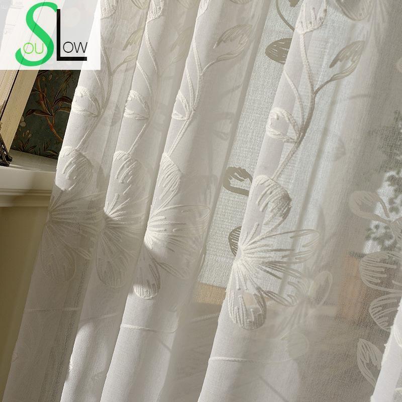 Broderie florale Tulle Rideaux pour salon voilage Volie fenêtre rideau Tulle-Rideaux Cortinas Rideaux Cortinas Visillos