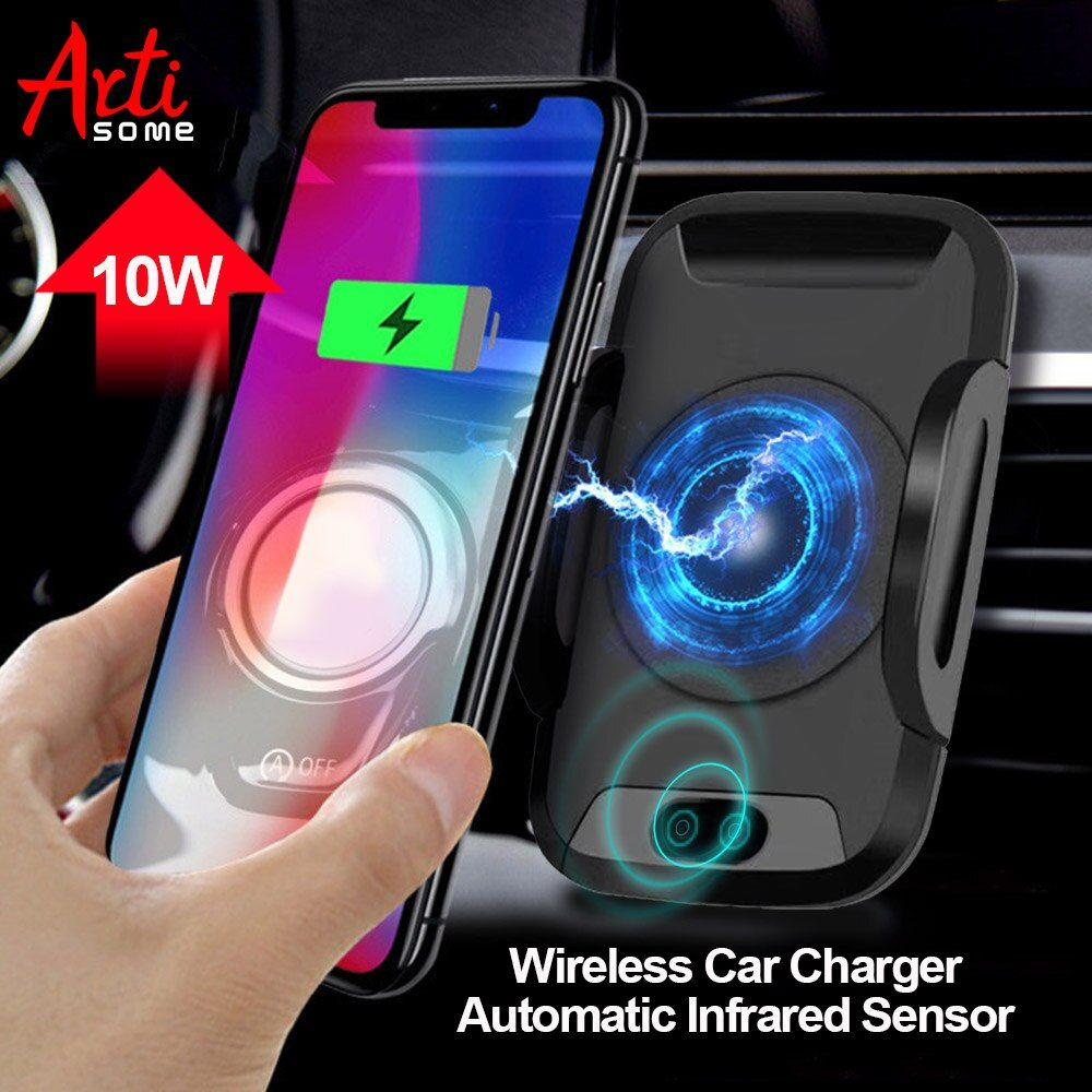 Artisome Qi Wireless Car Charger For iPhone X 8 Plus Samsung S8 Automatic Infrared Sensor Fast Wireless Charging 10W Max Socket