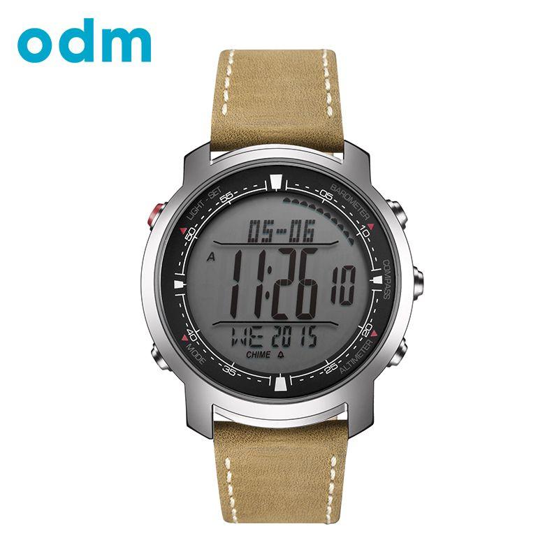 ODM Digital del deporte de Los Hombres Corrientes de Horas reloj Con Banda de Cuero Genuino relojes Brújula Termómetro Tiempo Reloj Digital rereloj hombre reloj de hombre 2017 DM056