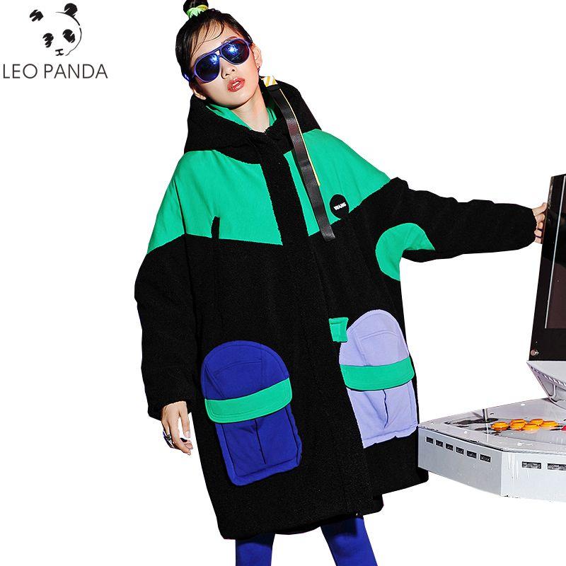 Plus Größe Winter Damen Hip Hop Parka Frauen Lose Lange mode Baumwolle Mantel Verdicken Warmen Schlug Farbe Student Padded Jacke weibliche