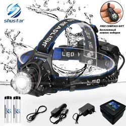 Светодиодный налобный фонарь, налобный фонарь T6/L2 6000 люменов для рыбалки, 3 режима, фонарь с зумом, водонепроницаемый налобный фонарь, фонари...