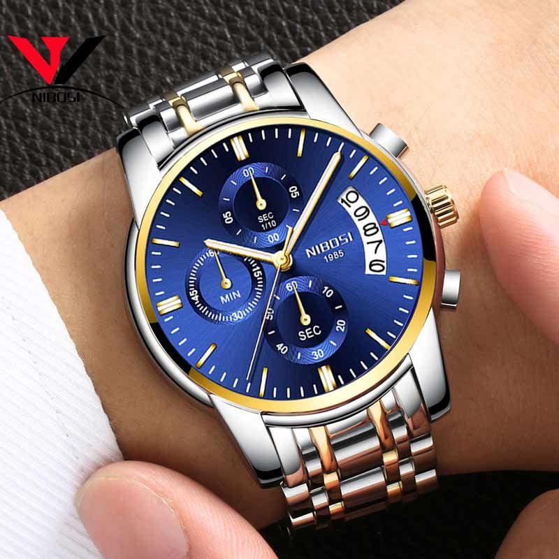 NIBOSI Mens Watches Luxury Brand Military Sport Gold Watch Men Business Wristwatch Chronograph Quartz Watch Relogio Masculino