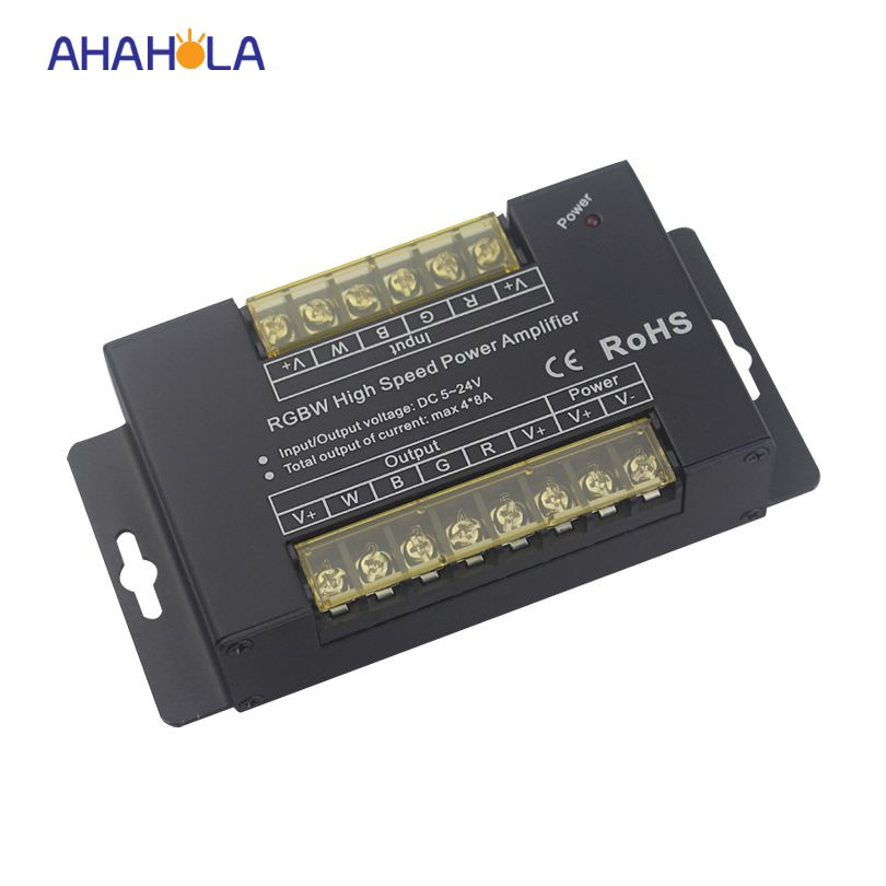 high speed rgb + rgbw amplifier dc 5-24v output pwm dimming signal max output 32A 768W