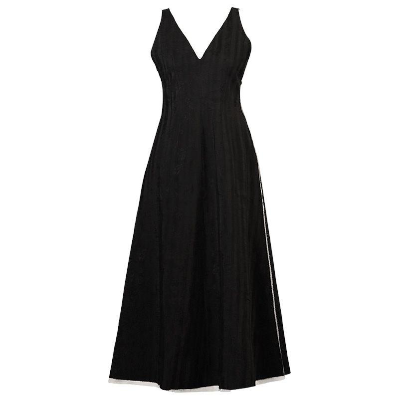 2019 dark schwarz minimalistischen kühlen kleid kleine ramie jacquard ärmellose weste kleid