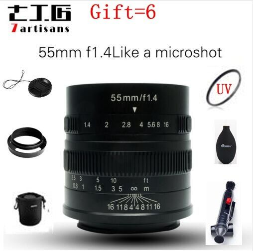 7artisans 55mm F1.4 M43 Prime Lens to Single Series for Sony E Mount for Canon EOS-M Mount Cameras A6000 A6300 A6500 M1 M2 M5 M6