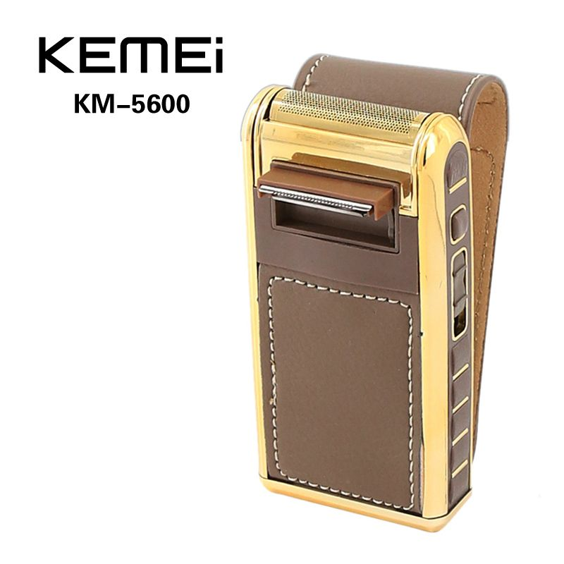 Mini Electric Shaver Leather Shell Rechargeable Shaver with Mirror for Man Waterproof 2 in 1 Reciprocating KEMEI KM-5500