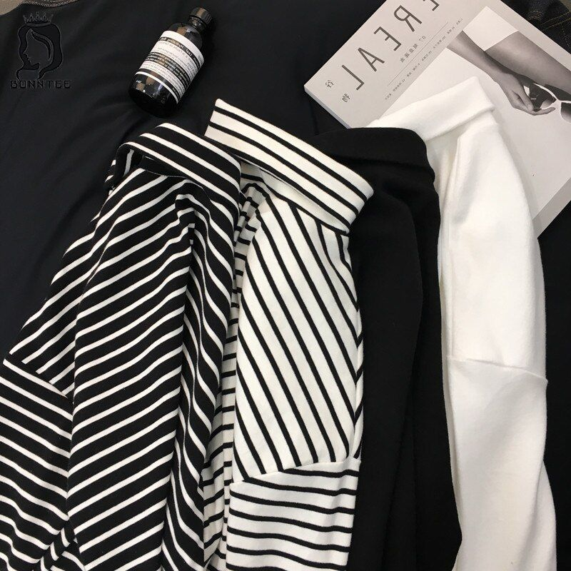 2018 New Black White Striped Long Sleeve T Shirts Women Loose T-shirt Womens Female Fashion Korean Style School Students Females