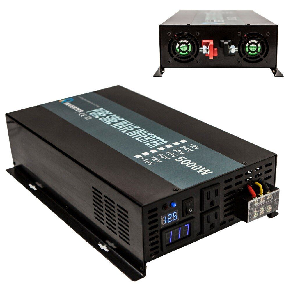 Pure Sine Wave Power Inverter 12V 230V 5000W Solar Inverter Battery Pack 12V/24/36/48V DC to 120V/220V/240V AC Voltage Converter