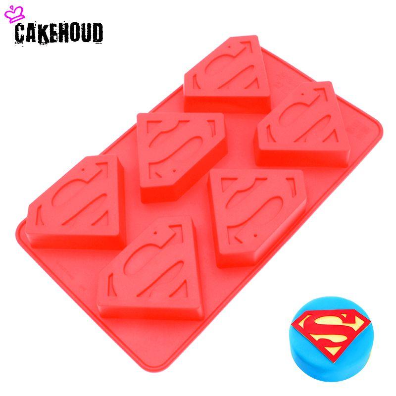 CAKEHOUD 6 trous 3D Superman Hero S Logo forme Silicone moule chocolat Mousse gelée gâteau outil Fondant gâteau décoration