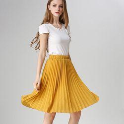 Anasunmoon Falda plisada gasa de las mujeres de la vendimia alta cintura tutú Faldas mujeres SAIA MIDI rokken 2016 falda de jupe del estilo del verano