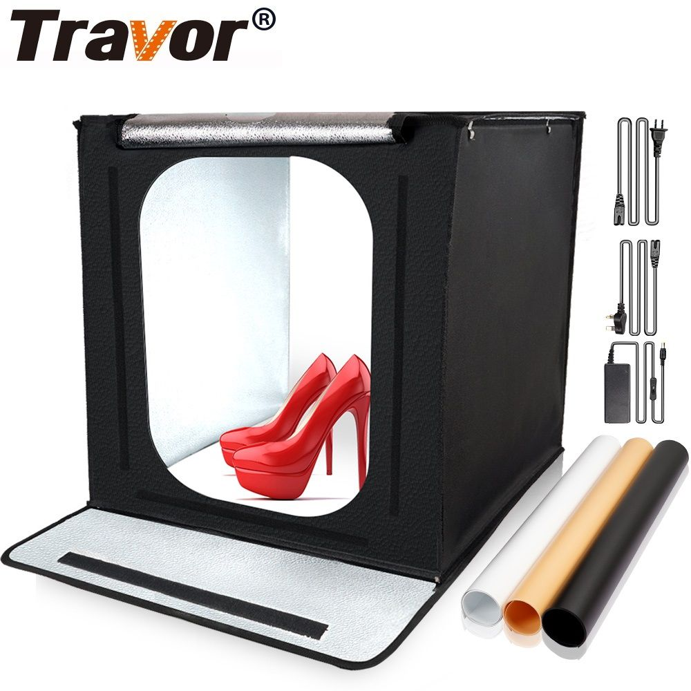 Travor Softbox 40*40 Portable Lightbox With 3 Types Yellow Black White Background For Photography Photo Light Studio Box