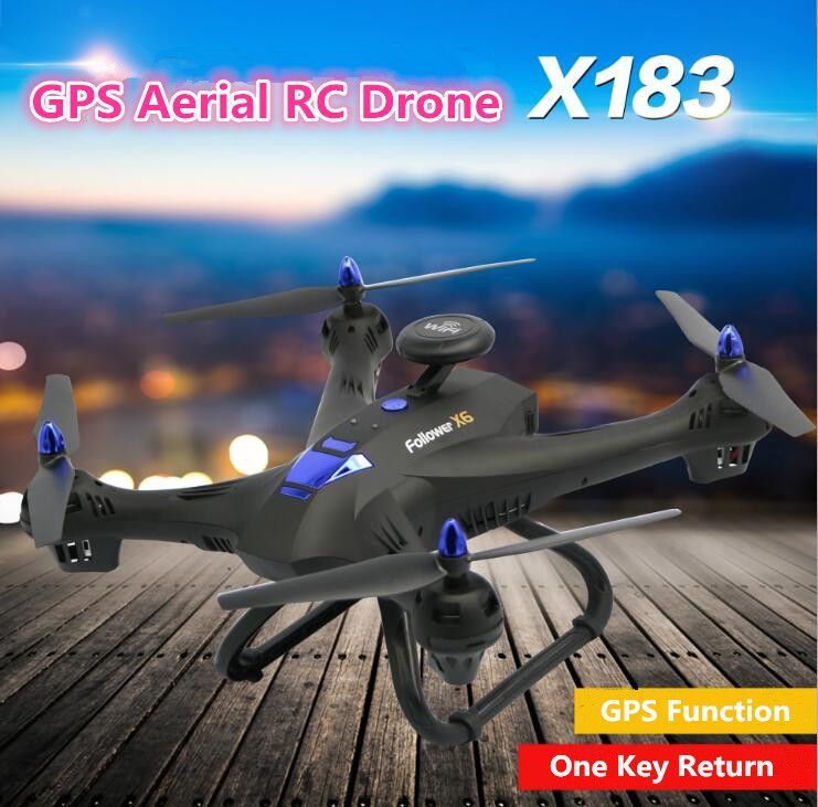 Aerial WIFI RC drone X183 2.4G attitude hold 5G GPS follow me WIFI FPV remote control helicopter with 1080P 720P camera vs CG035