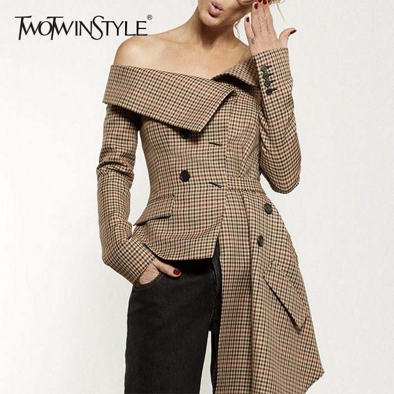 TWOTWINSTYLE Plaid Blazer Tops Female Irrgular Patchwork Slash Neck Long Sleeve Lace up Women Jacket Coat 2018 Autumn Fashion