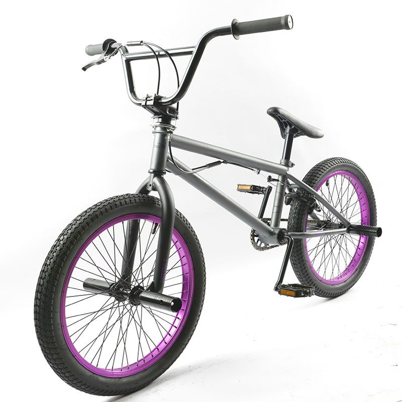 20 Inch BMX bike steel frame Performance Bike purple/red tire bike for show Stunt Acrobatic Bike rear Fancy street bicycle