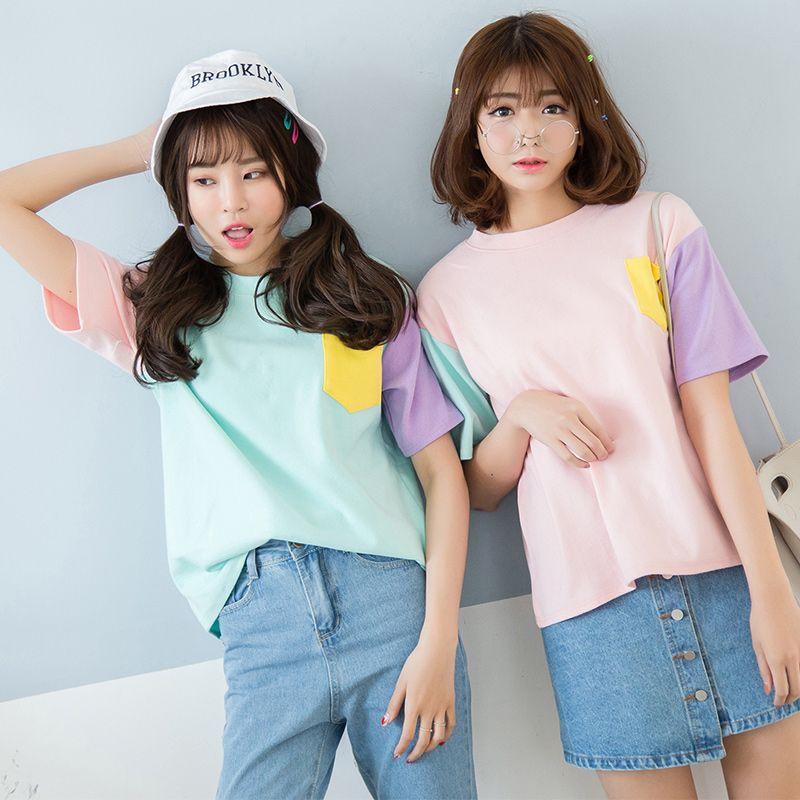 T-shirt Femme été coréen Hit couleur Harajuku o-cou avec poche t-shirt Femme couleur pleine Patchwork bas hauts classiques
