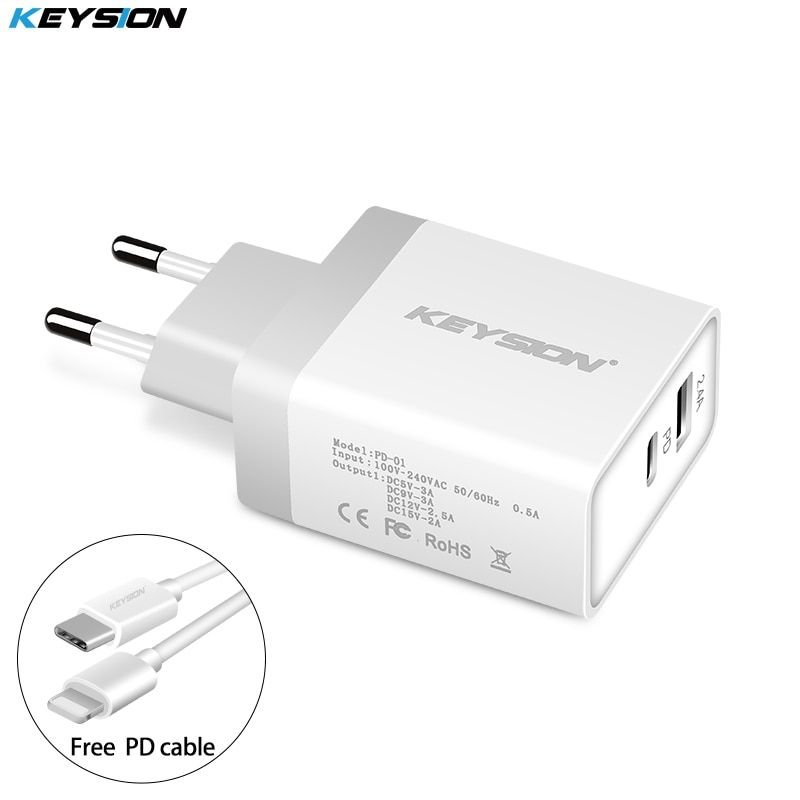 KEYSION 30W USB PD Charger Fast Charger Type C Power 2 Ports Travel Wall Quick Chargers for iPhone X 8 8 Plus New Macbook EU/US