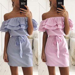 Women Fashion Casual Sleeveless Striped Mini Dress Ruffle Slim Dress Comfortable Summer Ladies Short Party Dress ZLD198