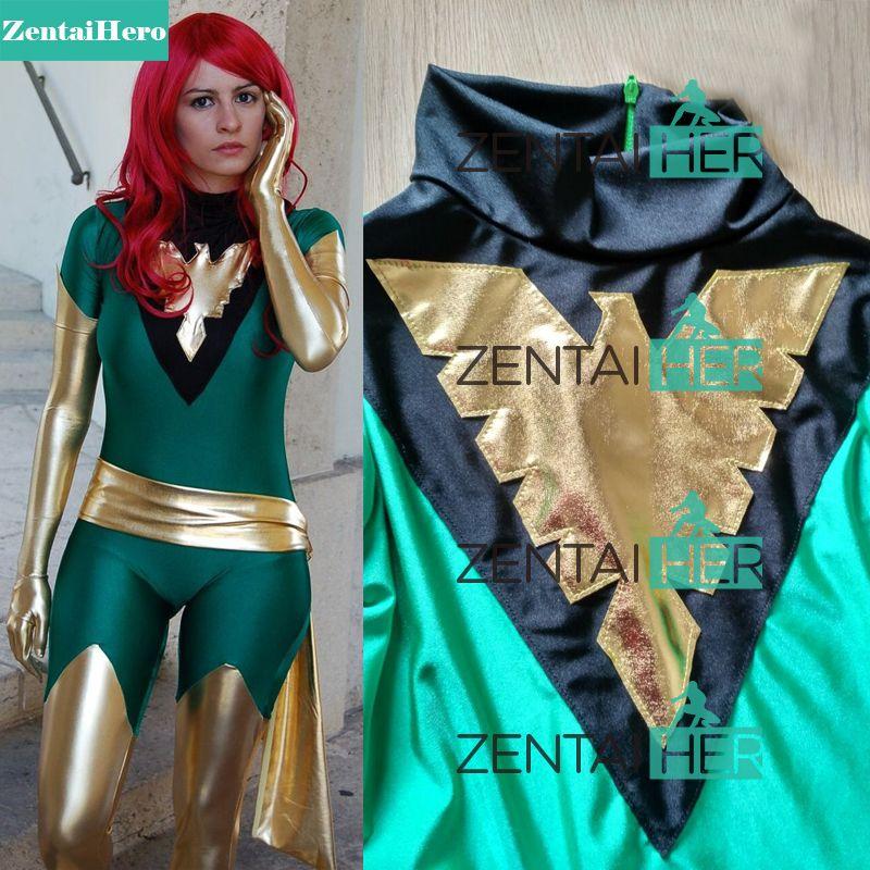 Free Shipping DHL Jean Grey Costume X-Men Phoenix Lycra Spandex Green and Shiny Metallic Gold Superhero Zentai Catsuit Halloween
