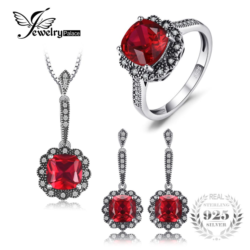 JewelryPalace Vintage 11ct Created Ruby Ring Pendant Necklace Drop Earrings Fine Jewelry Sets 925 Sterling Silver 45cm Chain New