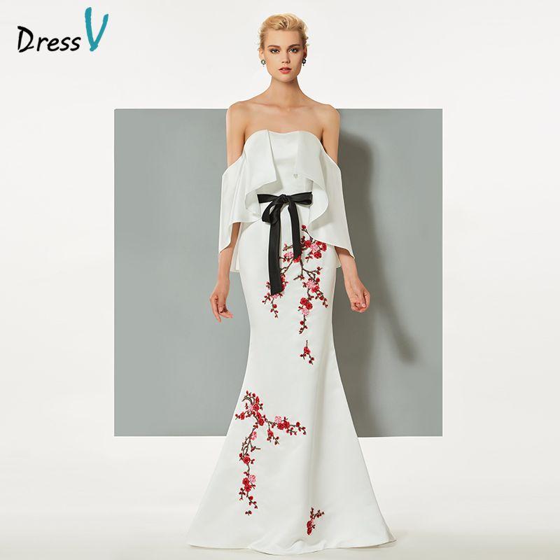 Dressv weißen abendkleid mermaid trägerlosen sweep zug stickerei rüschen hochzeit formales kleid abendkleid