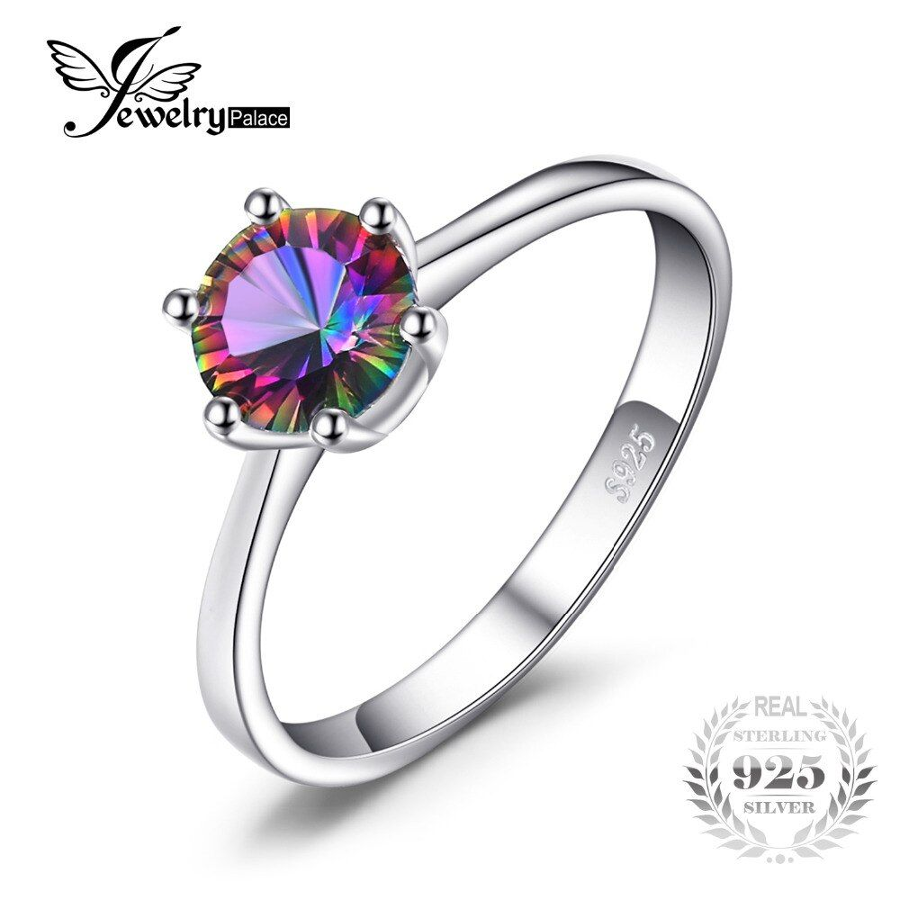 Natural Mystic Fire Rainbow Topaz Ring Engagement Wedding Ring Solid 925 Sterling Jewelry Fine Jewelry Women Ring Classic