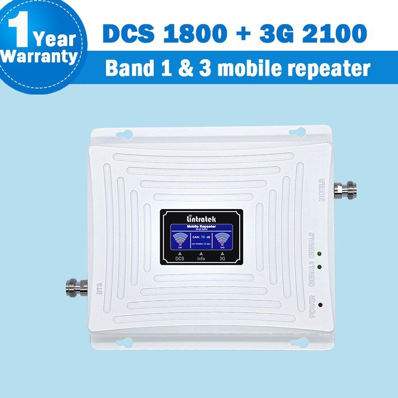 Lintratek 3G 4G WCDMA/DCS/LTE Signal Dual Band Repeater Display Band 1&3 1800/2100MHz Mobile Phone Cellular Signal Booster S45
