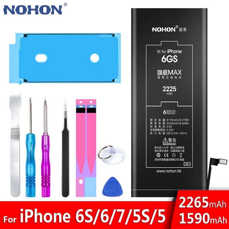 Batterie au Lithium NOHON pour Apple iPhone 6S 6 7 5S 5 Batteries de remplacement batterie de téléphone interne 2060mAh 2265mAh + outils gratuits