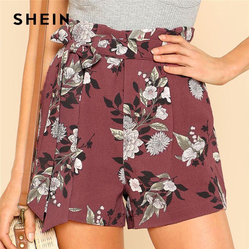 SHEIN Tie Waist Belt Flower Print Shorts Women Casual High Waist Zipper Fly Straight Leg Shorts 2018 Summer Beach Boho Shorts