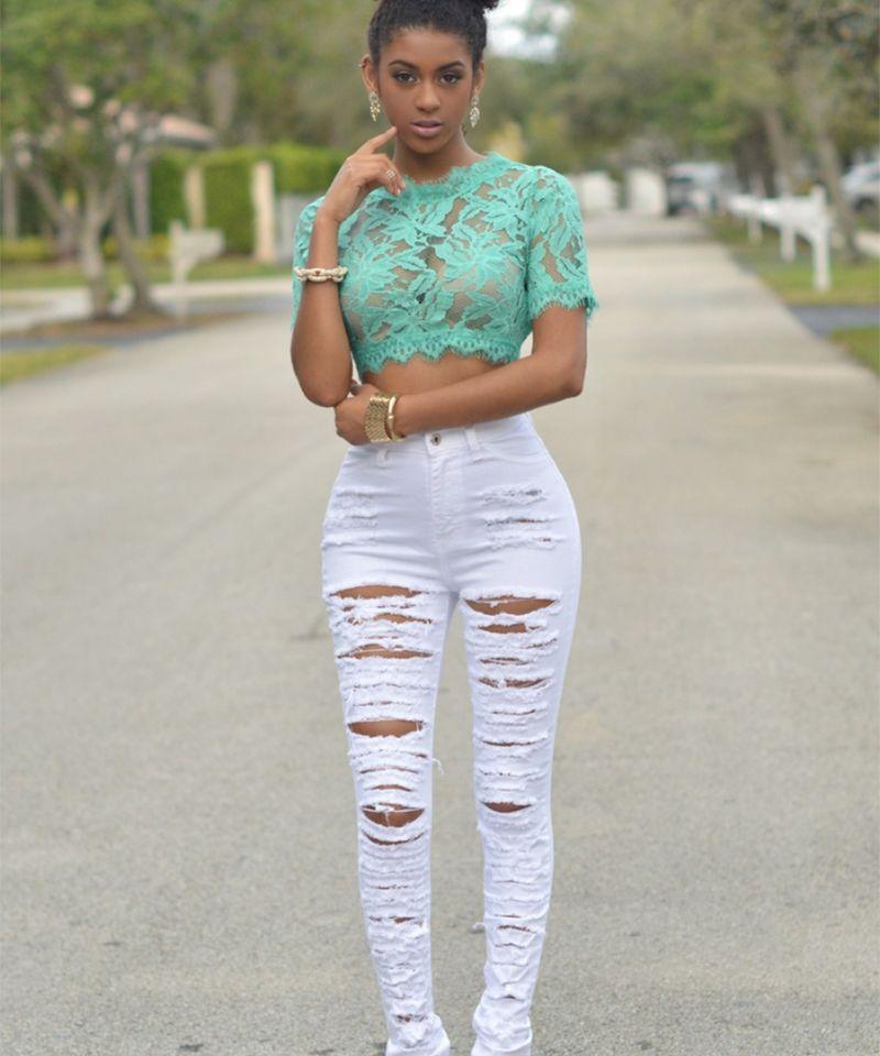 Nouveau Designer Denim femmes 2018 taille haute déchiré Jeans pour femmes Skinny noir blanc Jeans Femme élastique Slim Jean Femme 50
