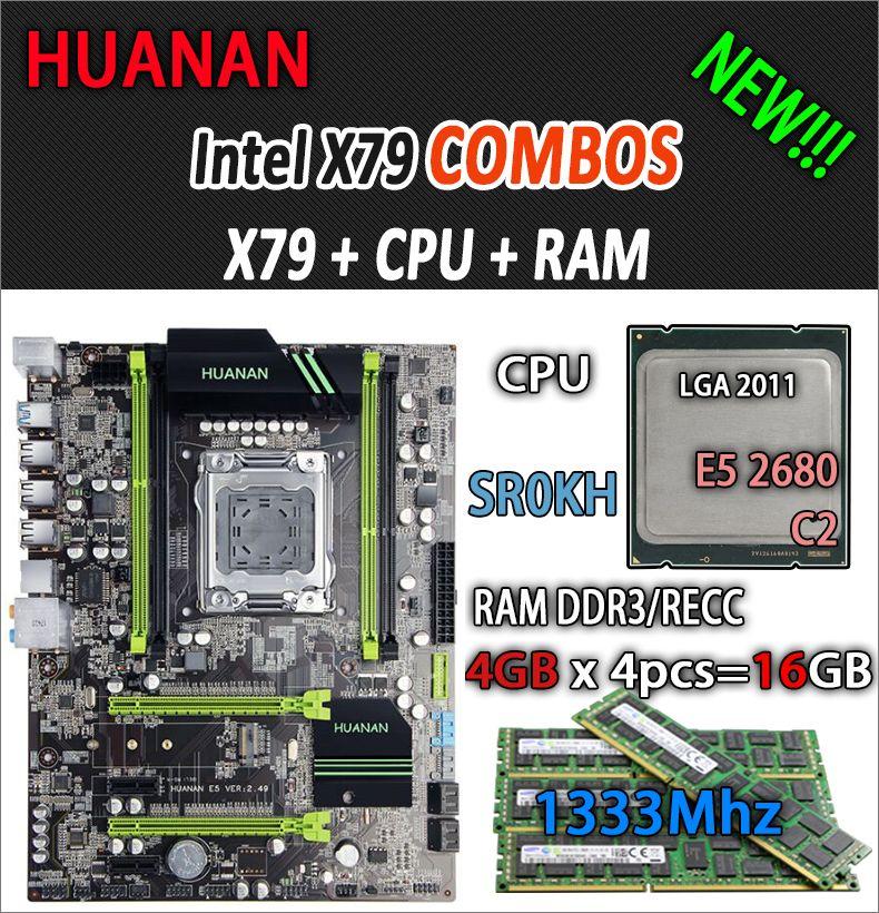 HUANAN golden V2.49 X79 motherboard LGA2011 ATX combos E5 2680 C2 SR0KH 4 x 4G 16GB 1333Mhz USB3.0 SATA3 PCI-E NVME M.2 SSD