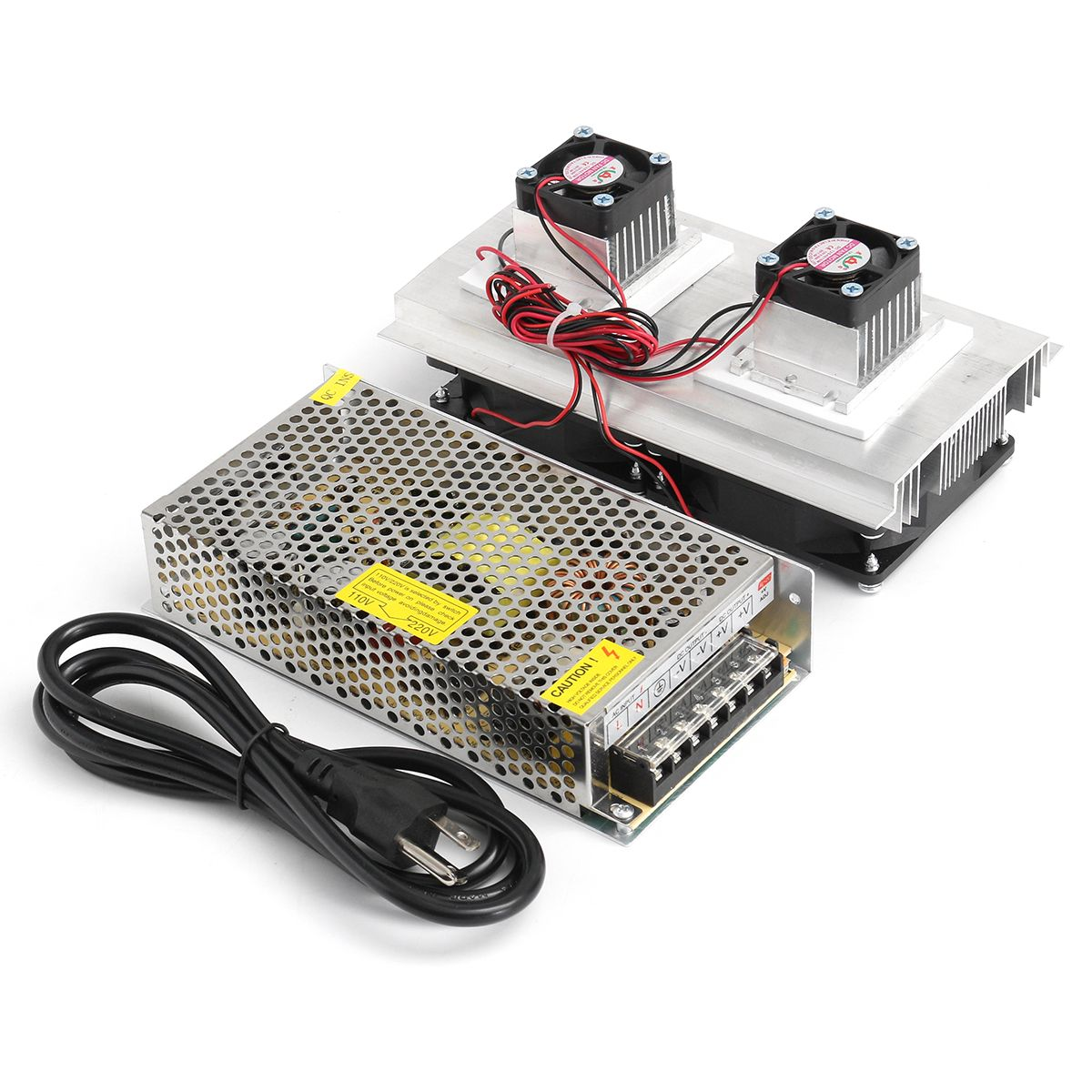 120W DIY Thermoelectric Peltier Cooler Refrigeration Semiconductor Cooling System Kit Double Cooler Fan Finished Kit