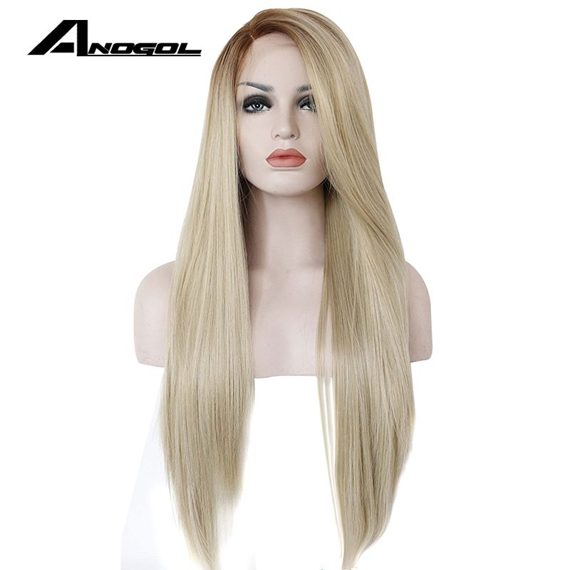 Anogol High Temperature Fiber Glueless Long Straight Ombre Brown to Blonde <font><b>Synthetic</b></font> Lace Front Wig for White Women