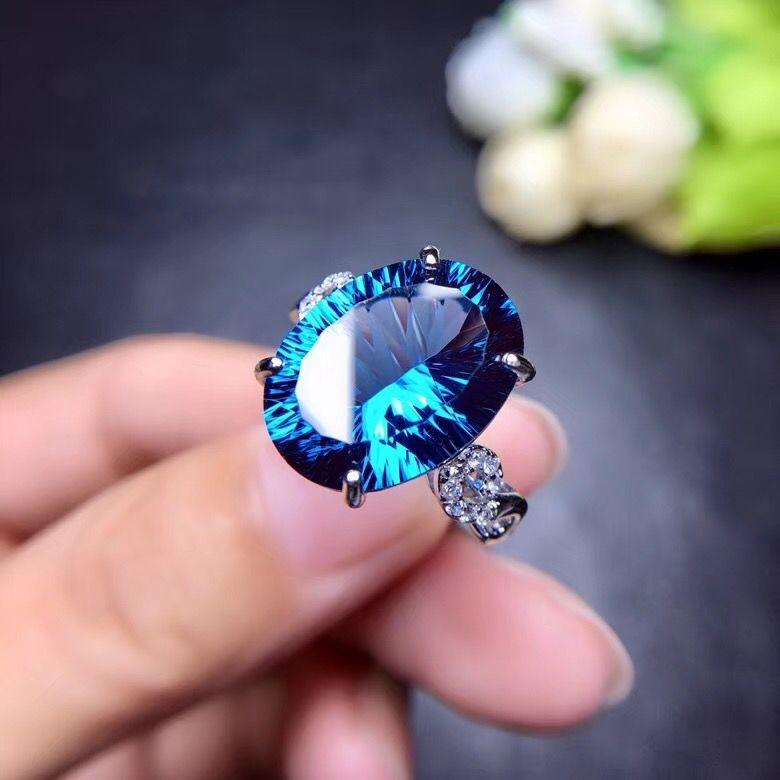 Natürliche topaz ring, 10 karat edelstein, gute feuer, schöne farbe, exquisite stil, 925 silber