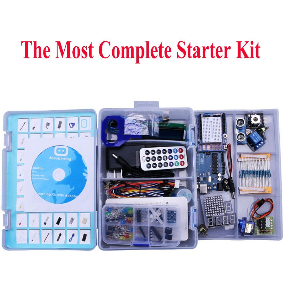 Elego UNO Projet La Plus Complete Starter Kit pour Arduino UNO Mega2560 Nano avec Tutoriel/Alimentation/Pas À Pas moteur