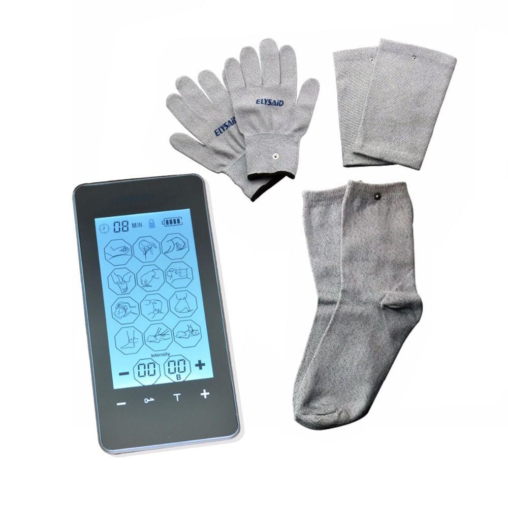 FDA 2 Kanäle Touch Screen Smart Elektrische Digitale Therapie Massager Mini LCD 12 Modus Mit Leitfähigen Handschuh Kneepad Socke Für ZEHN