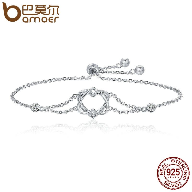 BAMOER Genuine 925 Sterling Silver Twisted Double Heart in Heart Chain Bracelets For Women Authentic Silver Jewelry Gift SCB022