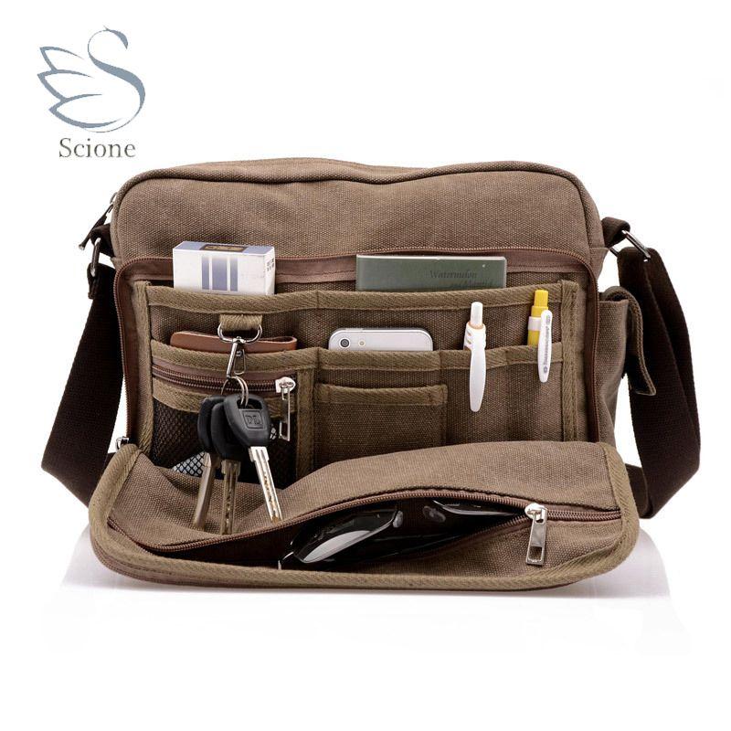 Scione toile multifonction Messenger sac à bandoulière solide porte-documents valise carte poche pour hommes femmes bureau extérieur sac de voyage